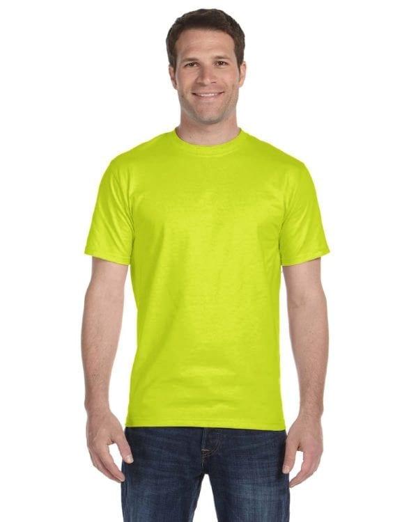 bulk custom shirts gildan g800 50-50 5.5 oz personlized t-shirts safety green