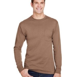 bulk custom shirts hanes w120 workwear long sleeve custom pocket t-shirt army brown
