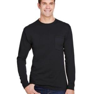 bulk custom shirts hanes w120 workwear long sleeve custom pocket t-shirt black