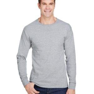 bulk custom shirts hanes w120 workwear long sleeve custom pocket t-shirt light steel