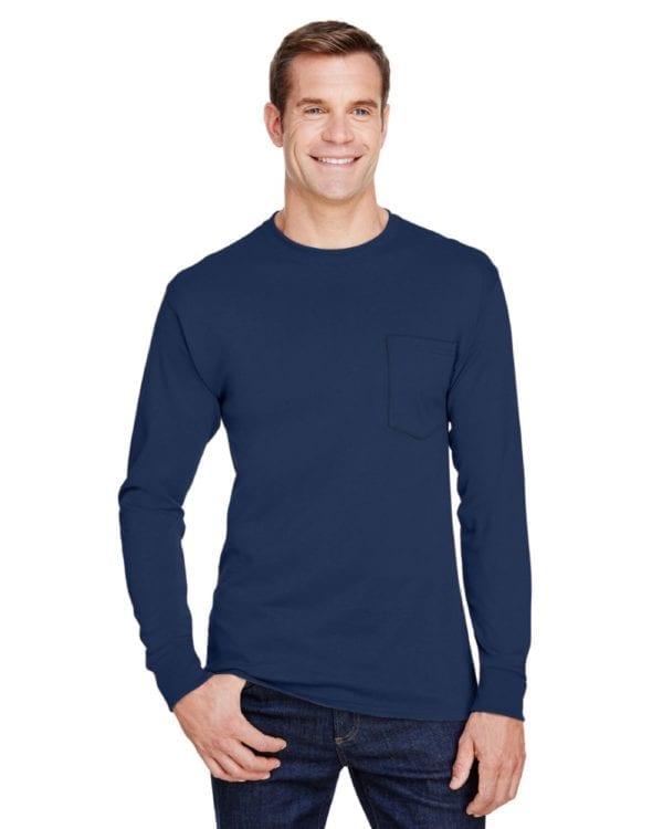 bulk custom shirts hanes w120 workwear long sleeve custom pocket t-shirt navy