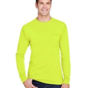 bulk custom shirts hanes w120 workwear long sleeve custom pocket t-shirt safety green