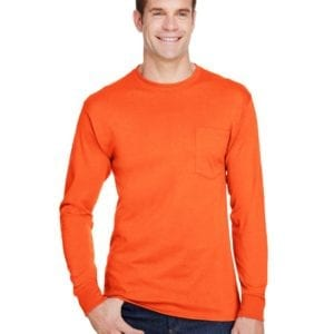 bulk custom shirts hanes w120 workwear long sleeve custom pocket t-shirt safety orange