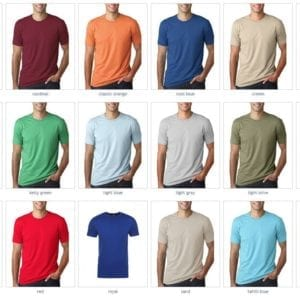 bulk custom shirts next level 3600 unisex cotton 4.3 oz custom t shirt colors