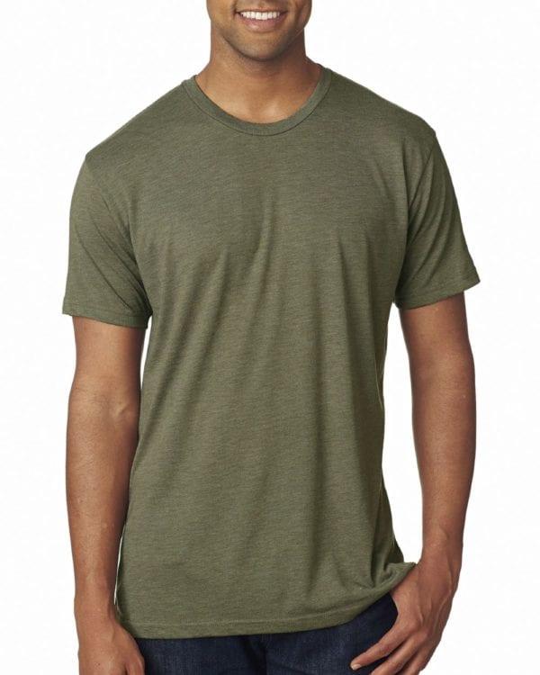 bulk custom shirts next level 6010 custom triblend crew 4.3 oz t shirt military green