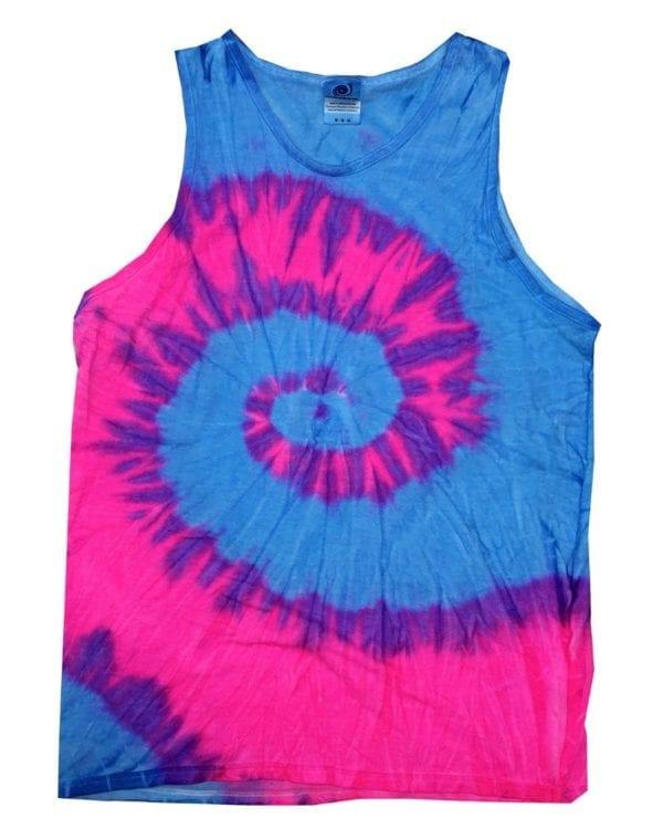 bulk custom shirts tie-die cd3500 100% cotton wholesale custom tank top flo blue-pink