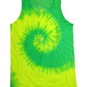 bulk custom shirts tie-die cd3500 100% cotton wholesale custom tank top flo yellow-lime