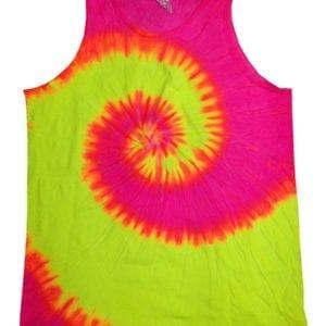 bulk custom shirts tie-die cd3500 100% cotton wholesale custom tank top fluorescent swir