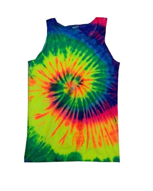 bulk custom shirts tie-die cd3500 100% cotton wholesale custom tank top neon rainbow