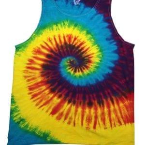 bulk custom shirts tie-die cd3500 100% cotton wholesale custom tank top reactive rainbow
