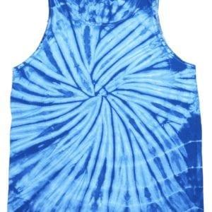 bulk custom shirts tie-die cd3500 100% cotton wholesale custom tank top spider baby blue