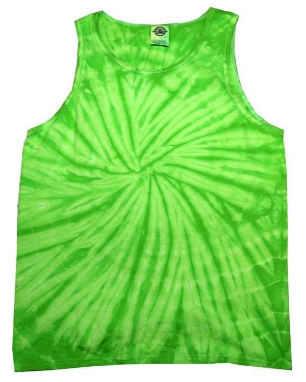 bulk custom shirts tie-die cd3500 100% cotton wholesale custom tank top spider lime