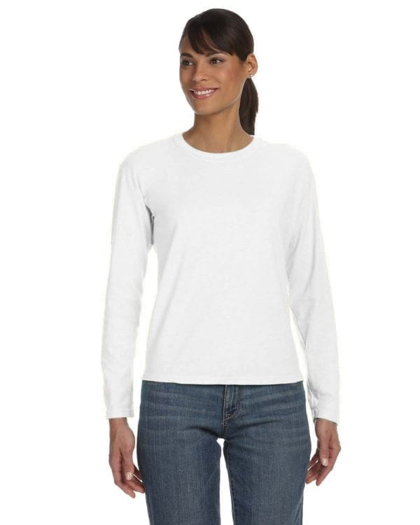 comfort color c3014 custom long sleeve shirt bulk custom shirts white front