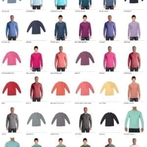 comfort color c4410 heavyweight pocket long sleeve shirt colors