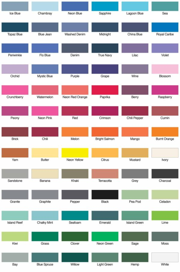 comfort colors 6030CC color swatches