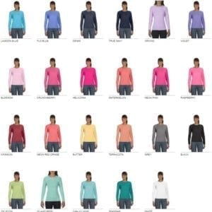 comfort colors c3014 ladies long sleeve shirt colors