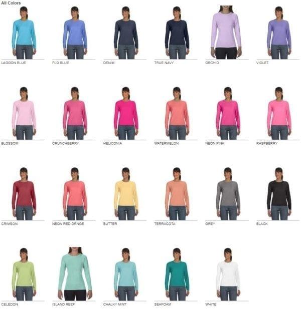 comfort colors c3014 ladies long sleeve shirt colors