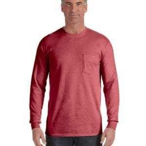comfort colors c4410 heavyweight RS custom long sleeve pocket t shirt brick