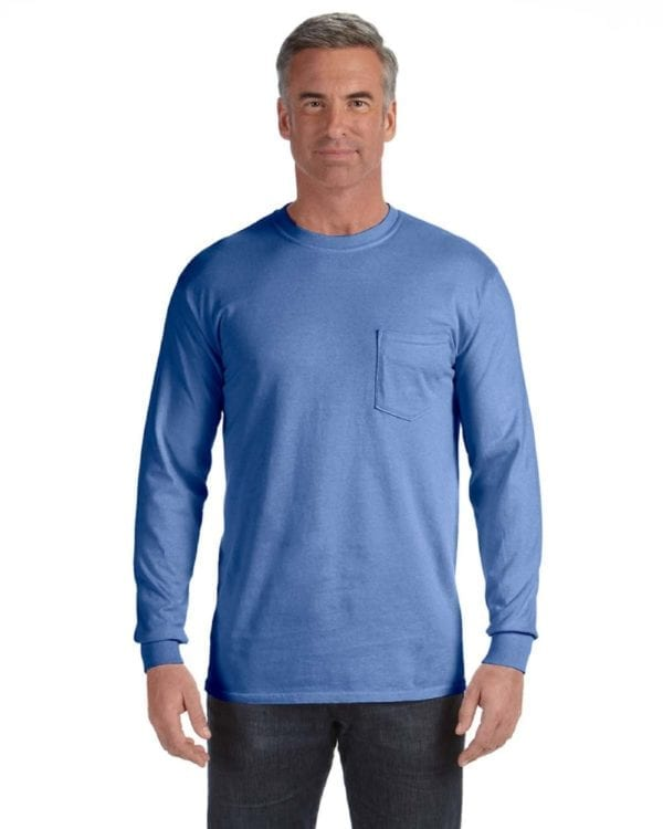 comfort colors c4410 heavyweight RS custom long sleeve pocket t shirt flo blue