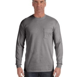 comfort colors c4410 heavyweight RS custom long sleeve pocket t shirt grey