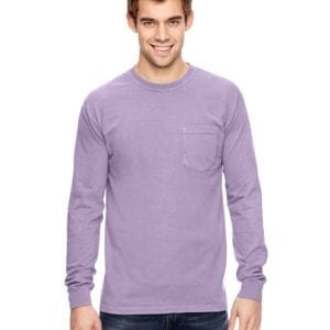 comfort colors c4410 heavyweight RS custom long sleeve pocket t shirt orchid