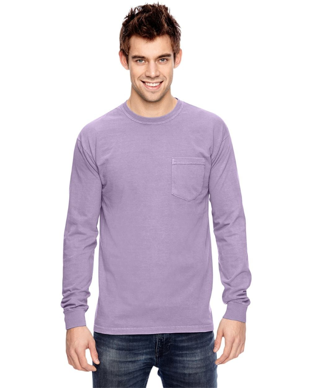 add94520 comfort colors c4410 heavyweight RS custom long sleeve pocket t shirt orchid