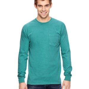 comfort colors c4410 heavyweight RS custom long sleeve pocket t shirt seafoam