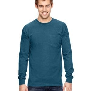 comfort colors c4410 heavyweight RS custom long sleeve pocket t shirt topaz blue