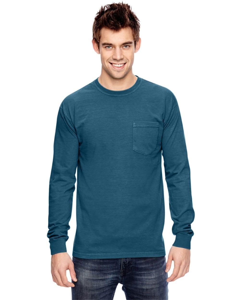 77559aa0 comfort colors c4410 heavyweight RS custom long sleeve pocket t shirt topaz  blue