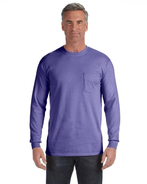 comfort colors c4410 heavyweight RS custom long sleeve pocket t shirt violet
