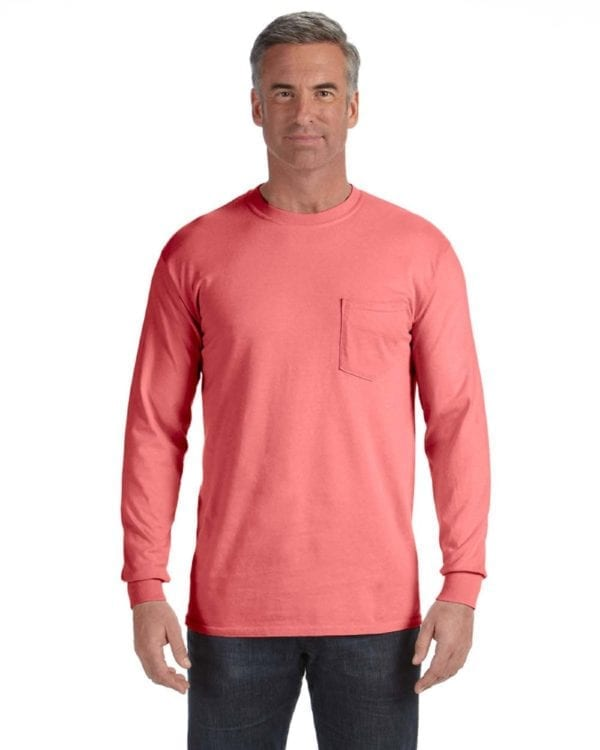 comfort colors c4410 heavyweight RS custom long sleeve pocket t shirt watermelon