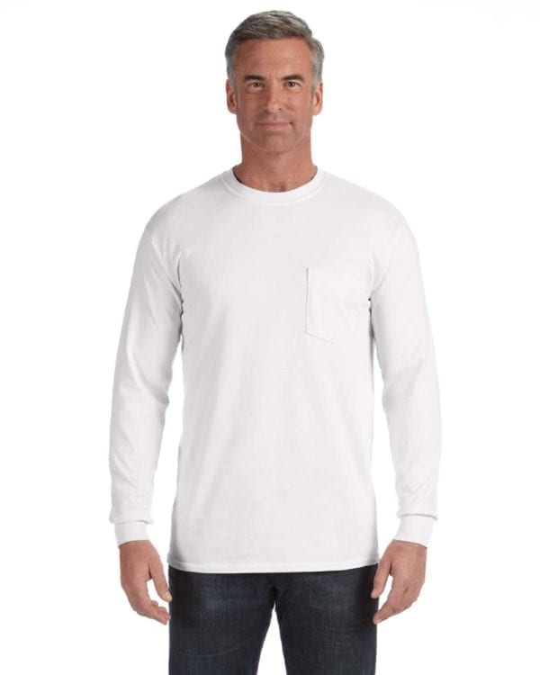comfort colors c4410 heavyweight RS custom long sleeve pocket t shirt white