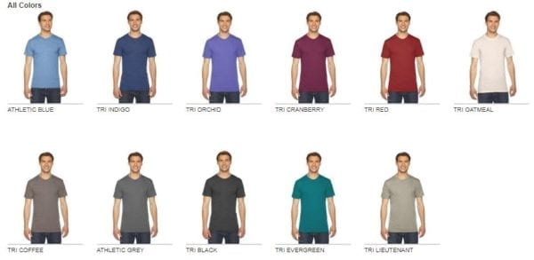 custom american apparel triblend shirt tr401w colors