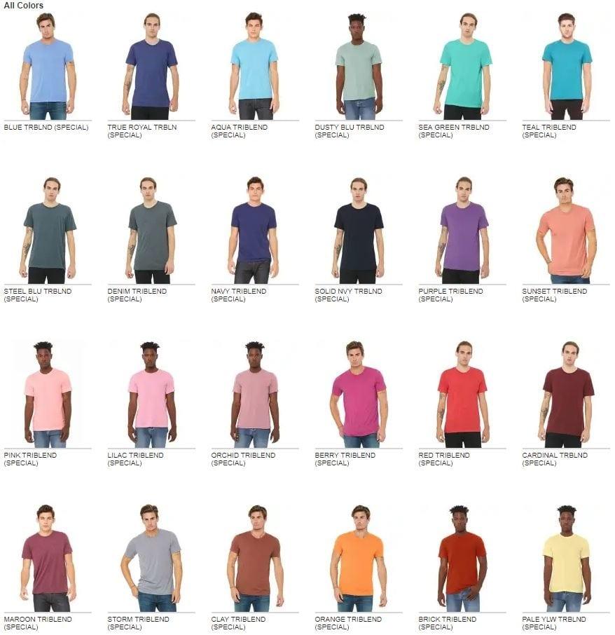 d8187eb5 custom bella canvas 3413c triblend short sleeve bulk custom shirts colors