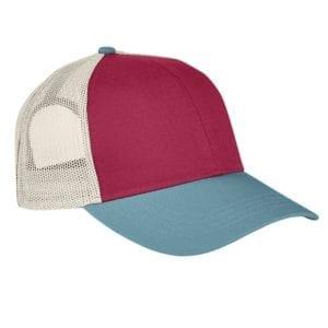 custom hats authentic pigment ap1919 tricolor custom trucker hat chili-blgrs-kh