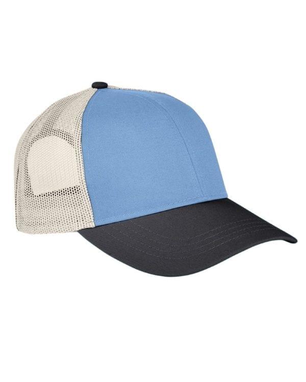 custom hats authentic pigment ap1919 tricolor custom trucker hat indigo-blk-kh