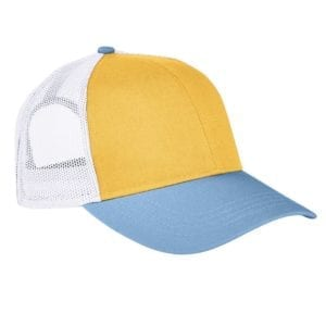 custom hats authentic pigment ap1919 tricolor custom trucker hat mustard-bay-white