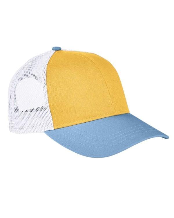 custom hats authentic pigment ap1919 tricolor custom trucker hat mustard-bay-white