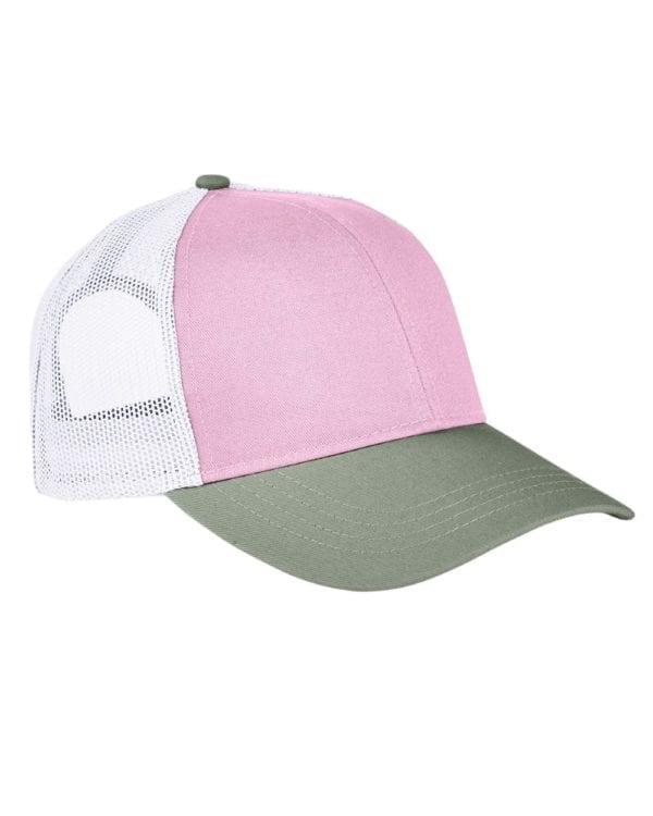 custom hats authentic pigment ap1919 tricolor custom trucker hat tulp-cilantro-white