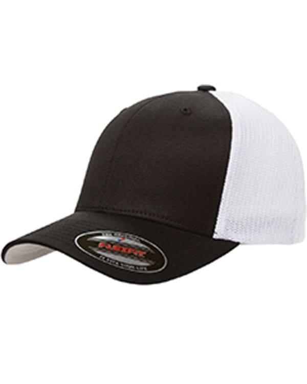custom hats flexfit 6511 6-panel custom trucker hat bulk custom shirts black white