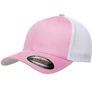 custom hats flexfit 6511 6-panel custom trucker hat bulk custom shirts pink white
