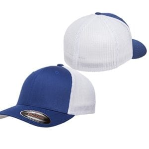 custom hats flexfit 6511 6-panel custom trucker hat bulk custom shirts royal white front and back