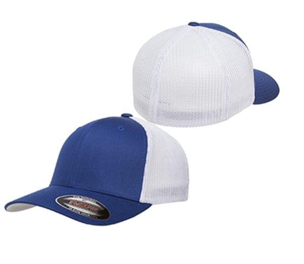 custom hats flexfit 6511 6-panel custom trucker hat bulk custom shirts royal white front and back