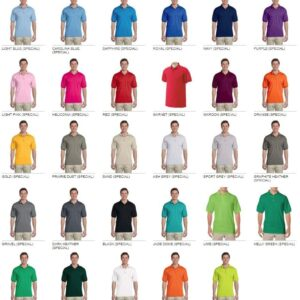 custom polo bulk custom shirts gildan g880 50-50 polo colors