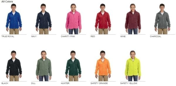 custom youth fleece jackets harrington m990y full zip custom fleece colors