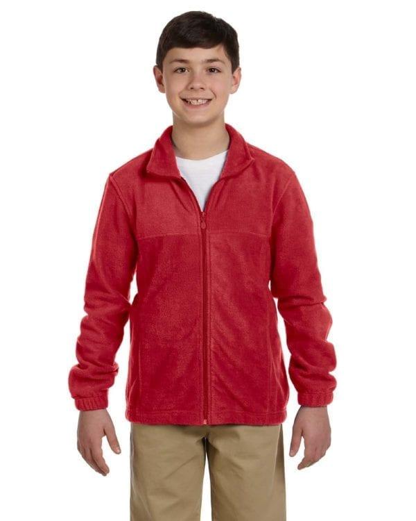 custom youth fleece jackets harrington m990y full zip custom fleece red
