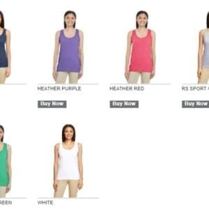 gildan 645rl ladies racerback custom tank top colors