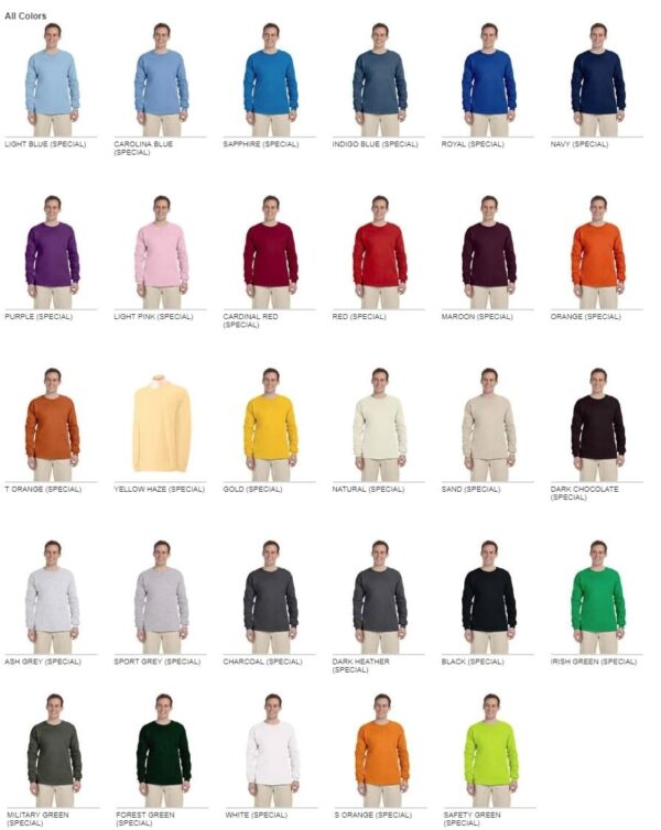 gildan g240 long sleeve custom shirt colors