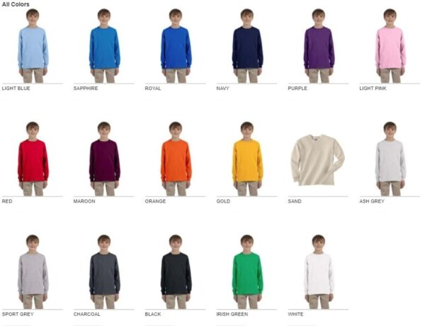 gildan g240b youth ultra cotton long sleeve shirt colors