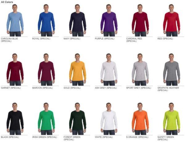 gildan g540 heavy cotton long sleeve custom shirt all colors